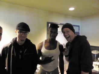 Tosin Abassi of Animals as Leaders and Devin Townsend. VIP meet n greet before a show. Whoever took the photo cropped out the bassist, whose name escapes me at the moment.