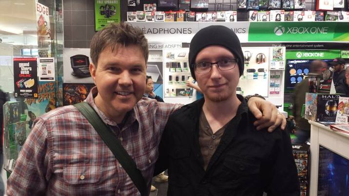 Victor Lucas at EB Games at Metrotown in Burnaby. He was there filming a segment for Reviews on the Run or EP Daily (can't remember). He was the very first person I interviewed; over the phone in grade 11 for a project. I owe him a lot.