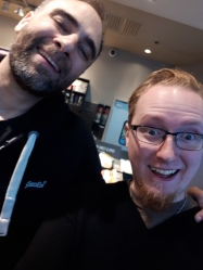 Me n Kurt Metzger at a Starbucks (not sponsored) in Vancouver (not sponsored). He's a good guy, and a lot of people who think very negative things about him, know nothing about him. He's thoughtful, raw and a brilliant comic and he's also very tall (not sponsored).